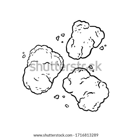 Vector illustration, sketch of delicious popular food. Fast Food: Chicken Nuggets. Hand drawn outline nuggets for typography, prints, coloring book, textile. Сток-фото ©