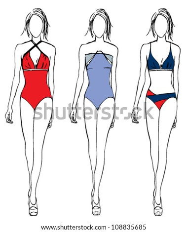 Vector illustration sketch of fashion girl in swimwear,summer fashion,sport style