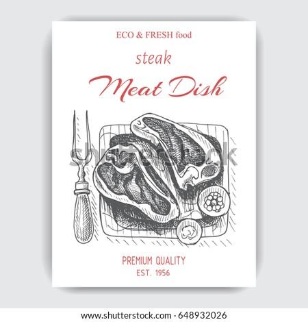 Vector illustration sketch - steak Card menu meat dishes. vintage design template, banner.