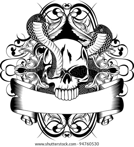 Vector illustration skull and snake