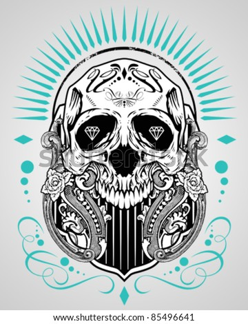 Vector illustration skull t shirt design logos for How to copyright t shirt designs