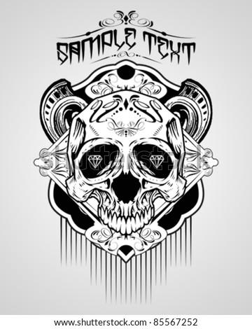 Vector Illustration : Skull T-shirt design logos - stock vector