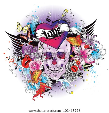 Vector Illustration: skull t-shirt graphic