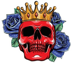 vector illustration skull wearing a king crown