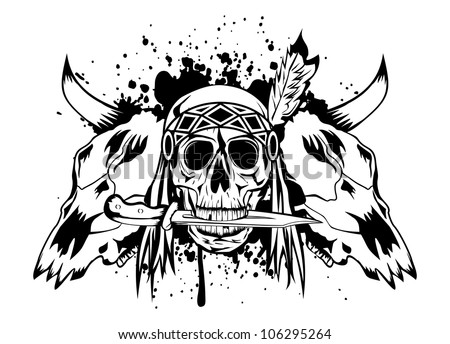 Vector illustration skulls bull and skull Indian