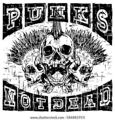 vector illustration skulls of