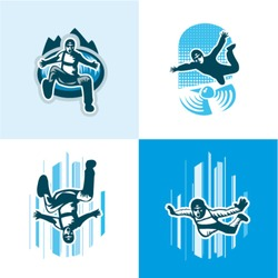Vector illustration skydiver icons set