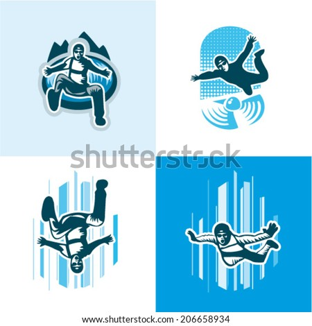 vector illustration skydiver