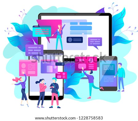 Vector illustration, small people are working on creating a website, applications, transferring information, vector illustration of the concept of web page design and development of mobile websites, #1228758583