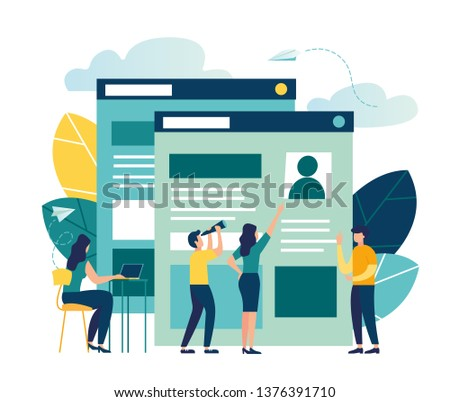 Vector illustration, small people fill out the form, modern concept for web banners, infographics, websites, printed products, filling out resumes, hiring employees - Vector