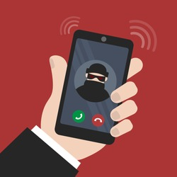 vector illustration smartphone in hand. fraud calls the phone. extort money and cheat on the phone. smartphone call with unknown number