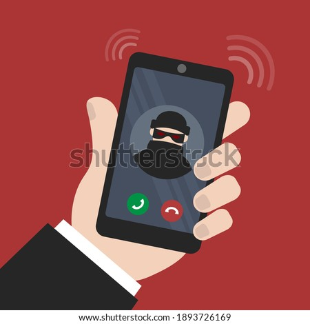 vector illustration smartphone in hand. fraud calls the phone. extort money and cheat on the phone. smartphone call with unknown number Сток-фото ©