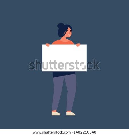 Vector illustration smiling young women holding clean placards. People character demonstrating empty banners