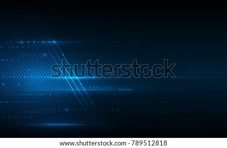 Vector illustration smooth lines in dark blue color background. Hi-tech digital technology concept. Abstract futuristic, shiny lines background