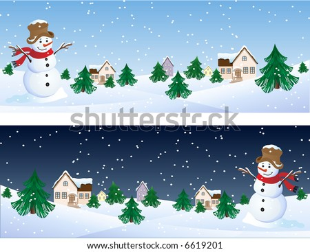 Vector illustration - snowman and winter background