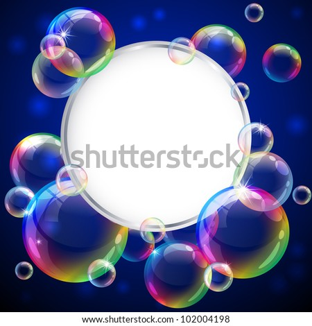 Vector illustration - soap bubbles frame. Eps10 vector file, contains transparent objects and opacity mask.