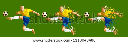 vector illustration soccer football player low-poly style concept brazil kits uniform colour championship