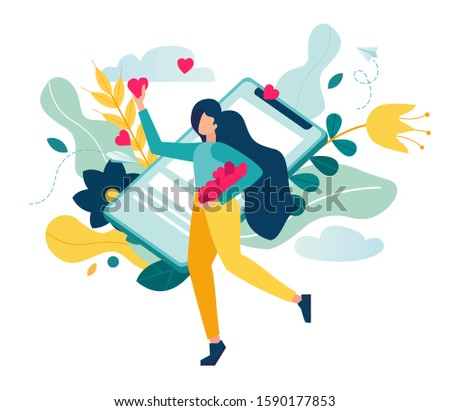 vector illustration, social networks, mutual likes, a joyful girl with a phone in his hand puts likes on a background of flowers