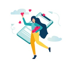 vector illustration, social networks, mutual likes, joyful girl with a phone in her hand likes