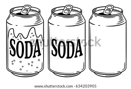 Vector illustration soda can isolated on white background. Hand drawn style sketch. For restaurant or cafe drink menu.