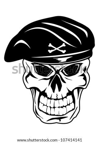 Vector illustration soldier skull in beret