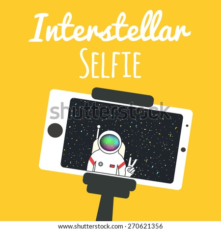 Stock Photo Vector illustration. Spaceman/astronaut makes self portrait with a monopod and mobile phone. Interstellar selfie