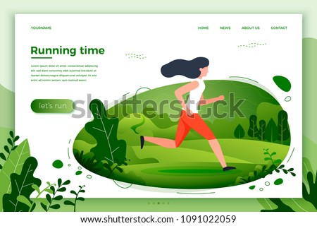 Vector illustration - sporty girl running in park. Park, trees and hills on green background. Banner, site, poster template with place for your text.