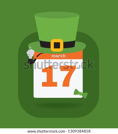 Vector illustration. St. Patrick's Day calendar. 17th March