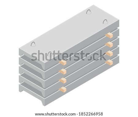Vector illustration stack of concrete slabs isolated on a white background. Channel plank icon in isometric view. Building materials storage in flat style. Concrete slabs for construction purposes. Foto stock ©