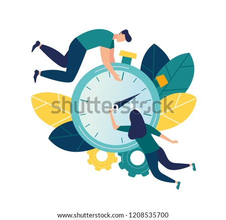 Vector illustration, stopwatch on white background, express services, time management concept, fast reaction