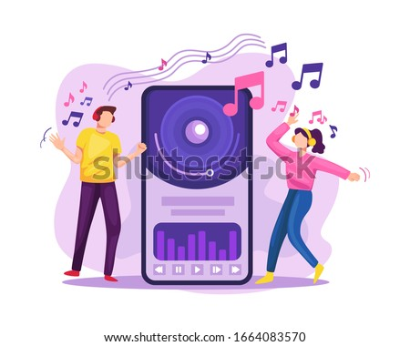 Vector illustration Streaming music. People streaming music in online platform, Streaming music mobile app concept. People hearing music with headphones and smartphone. Vector flat illustration