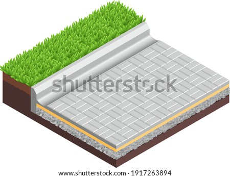 Vector illustration street pavement isolated on white background. Technical details of a street pavement in flat cartoon style. 3D isometric layered diagram of a street pavement. Sidewalk. Street tile