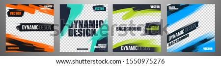 vector illustration. Stylish graphics templates for posts. dynamic abstractions for typography or photo. modern art paint and brush stains, fitness subjects gym. design frame for posts on social media