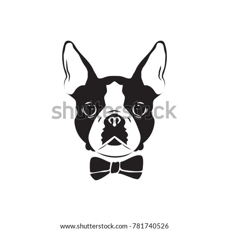 Vector illustration stylized dog head with bow.