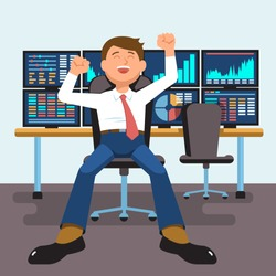 Vector illustration successful businessman young trader with hands raised sitting at trader desk in trader room with computer stock market graph diagram information isolated. Concept business success