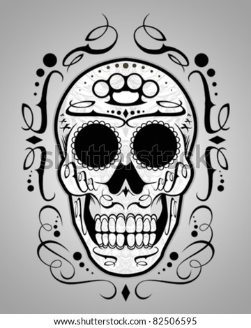 Vector Illustration : Sugar Skull design element grey