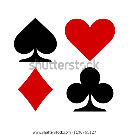 Vector illustration. Suit of playing cards symbols. Icons isolated on white background