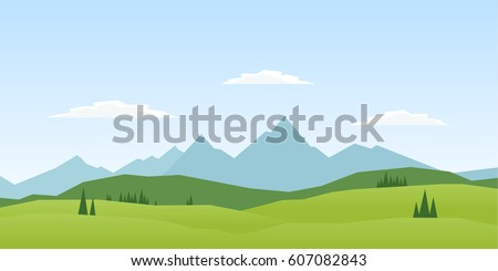 Vector illustration: Summer Mountains landscape with pines and hills.