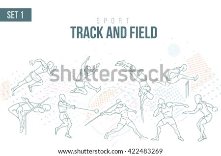 vector illustration Summer sport in 2021 in Tokyo, Japan Games, sports games track and field sport hand-drawn doodles sport. running, long jump hurdles, pole vault, javelin disc nucleus. set 1 Stock photo ©