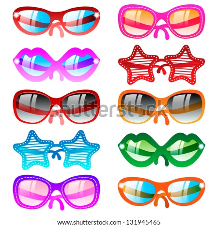 Vector illustration sunglasses icons. Ten multicolor set