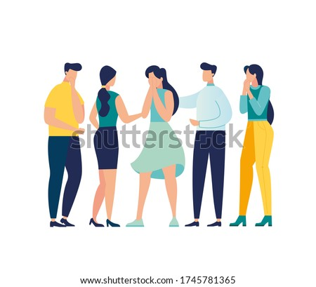 Vector illustration, support concept, a group of people console a crying girl, help a close-knit team in stressful situations vector