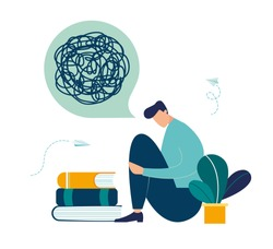 Vector illustration, support concept for those who are under stress, young man in a state of depression, confused situation, support is an opportunity and a chance
