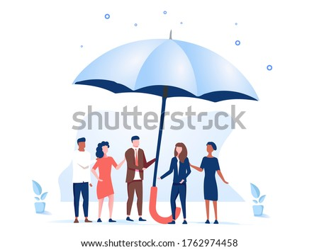 Vector illustration, support each other concept, people stand under umbrella under protection. Male and female holding an open umbrella which protects. Insurance and protection. Safety measures.