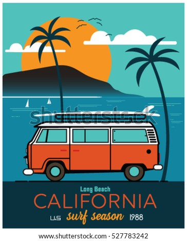 vector illustration surf bus...
