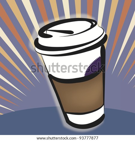 Vector Illustration - Take-out Coffee Cup:  to-go beverage is celebrated in this design.