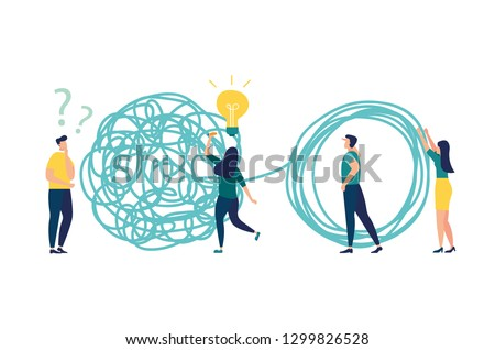 Vector illustration, tangle tangled and unraveled. abstract metaphor, business problem solving concept