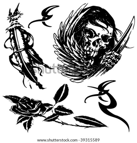 tattoo design set(skull, flower,