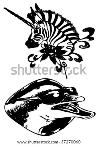 vector illustration tattoo - (zebra,
