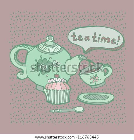 Vector illustration Tea time - stock vector