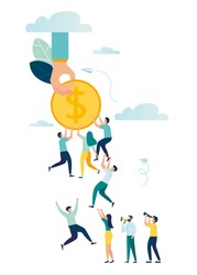 Vector illustration, team a group of people hold each other without losing a coin, achieve goals, decline in income, take money